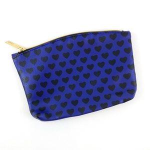 Ipsy Blue with Black Hearts Make Up Bag